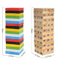 Fold High Wooden Digital /Color Jenga Building Block Brain Game Toy