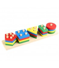 Geometry Wooden Block Sorting Stacking Game Color Shape Recognition Montessori