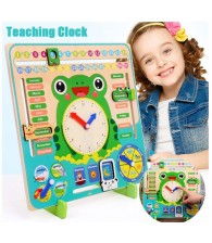 Wooden Multi functional Calendar Clock Early Leaning Time Season Weather Month