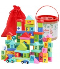 100pcs Wooden Building Blocks
