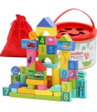 50pcs Wooden Building Blocks