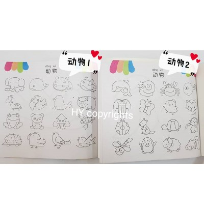 Learn to Draw & Coloring Book with tracing paper Set of 6