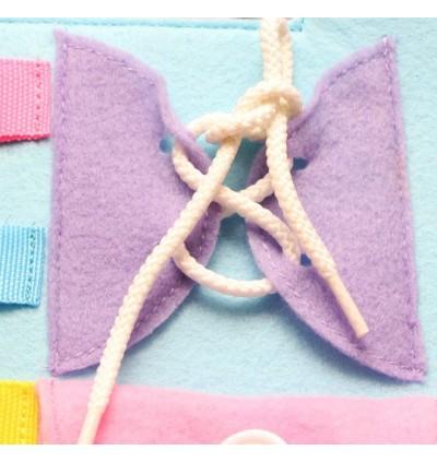 Baby Life Skill Training Board Button Zip Buckle tie