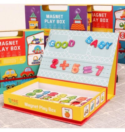Magnetic Wooden Alphabet Number Puzzle Magnet Play Box Jigsaw Puzzle