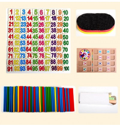 Multi function Wooden Mathematics Counts Digital Arithmetic Learning Box