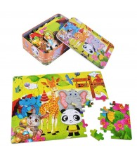 100pcs Cartoon Puzzle in Steel Box