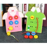Kids Lacing Sewing Board Wooden Sew On Buttons Toys
