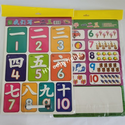 Writable TIME Clock / Number / Stroke Board with marker